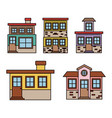 background with colorful set of houses facades vector image