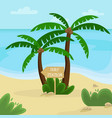 beach landscape palm trees with a wooden pointer vector image vector image