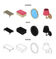 bedroom and room sign set vector image vector image