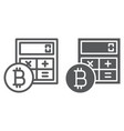 bitcoin calculator line and glyph icon vector image vector image