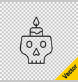 black line burning candle on a skull icon isolated vector image vector image