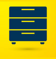 blue furniture nightstand icon isolated on yellow vector image vector image