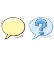 cartoon empty speech bubble and question mark vector image vector image