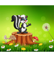 Cartoon funny skunk on tree stump in summer vector image vector image