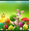 cartoon rabbit with easter eggs and baby chicken vector image vector image