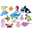 Cartoon sea animals with happy emotions vector image vector image