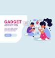 children gadget addiction horizontal banner vector image