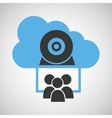 cloud connection social media group camera web vector image
