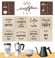 coffee set motivation quotes about coffee Kettles vector image