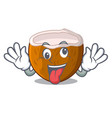 crazy half coconut isolated on the mascot vector image