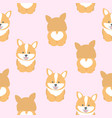 cute corgi dog seamless pattern vector image