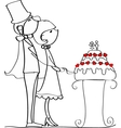 Cute Couple Cutting Wedding Cake Drawing vector image vector image