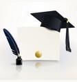 diploma graduation with a graduate cap vector image vector image