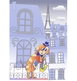 Dog Musician in Blue Evening Paris vector image vector image