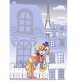 Dog Musician in Blue Evening Paris vector image