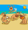 dogs group on holiday cartoon vector image