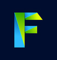 F letter line colorful logo Abstract trendy green vector image