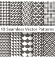 Fashionable geometric seamless pattern set vector image