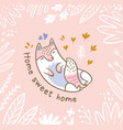 floral with white cat or fox in the vector image vector image