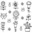 flower hand draw doodles vector image vector image
