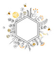 frame with honey flowers and bees cartoon vector image vector image