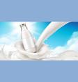glassware bottle of milk at cream splash vector image vector image
