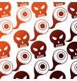 halloween eye and skull icon pattern vector image vector image