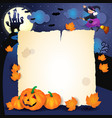 halloween night with parchment pumpkins and old vector image vector image