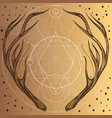 hand drawn deer antlers with geometric ornament vector image vector image