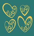 hand drawn valentine hearts decorative design vector image