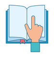 hand reader with text book isolated icon vector image