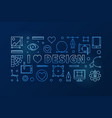 i love design blue horizontal thin line vector image