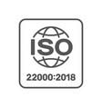 iso 22000 standard certificate badge iso 22000 vector image