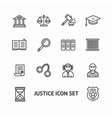 justice law outline icon set vector image vector image