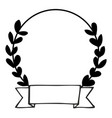 laurel wreath black and white photo frame on white vector image vector image