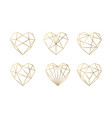 luxury collection of polygonal hearts vector image