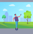 man riding on segway and taking selfie city park vector image