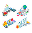 monetary research clip art set isometric style vector image