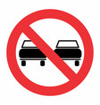 no overtaking traffic sign vector image vector image