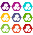 paintball sport balls icons set 9 vector image