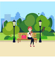 public urban park woman hold smartphone sitting vector image vector image