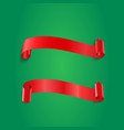 red realistic ribbon banners set on green vector image vector image