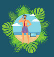 round boarder with freelancer on beach vector image vector image