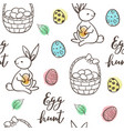 seamless pattern with eggs and basket vector image