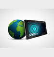 security tablet pc with globe vector image vector image