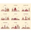 Set Indian skylines Mumbai Delhi Jaipur Kolkata vector image