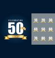 set of anniversary logotype anniversary vector image vector image