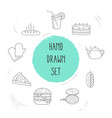 set of food icons line style symbols with lemonade vector image