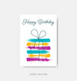 simple happy birthday card design template vector image
