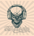 skull in headphones hand drawing image vector image